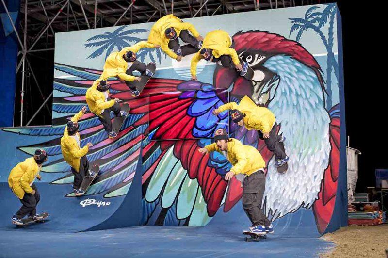 Pedro Barros skatet am Kunstwerk
