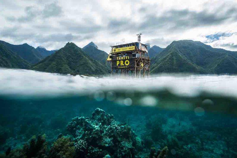 Der Judging Tower des Tahiti Pro.